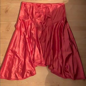 Coral satin skirt